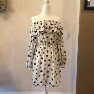Topshop black and white star off the shoulder mini